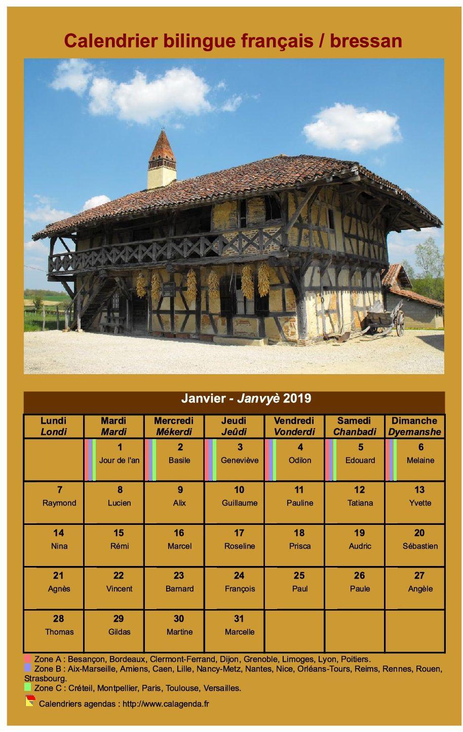 Calendrier mensuel en patois bressan