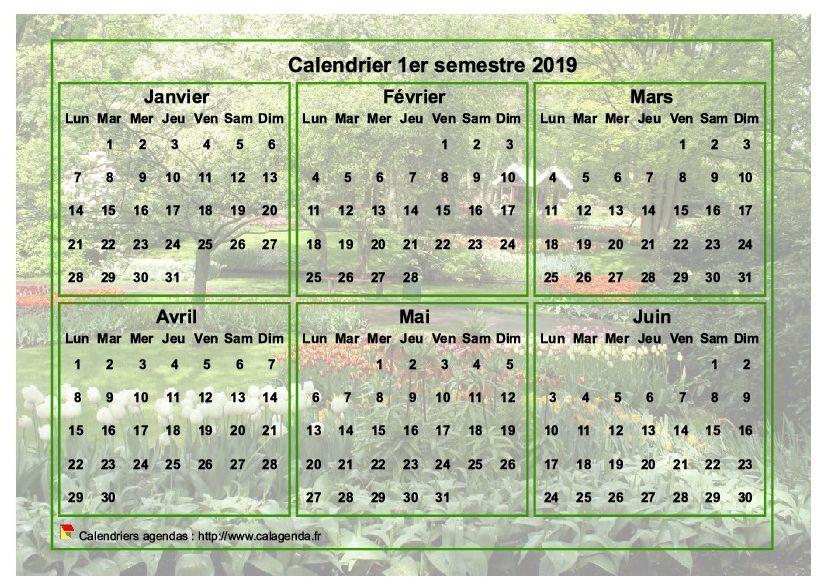 Calendrier 2019 à imprimer semestriel, format paysage, avec photo en fond de calendrier