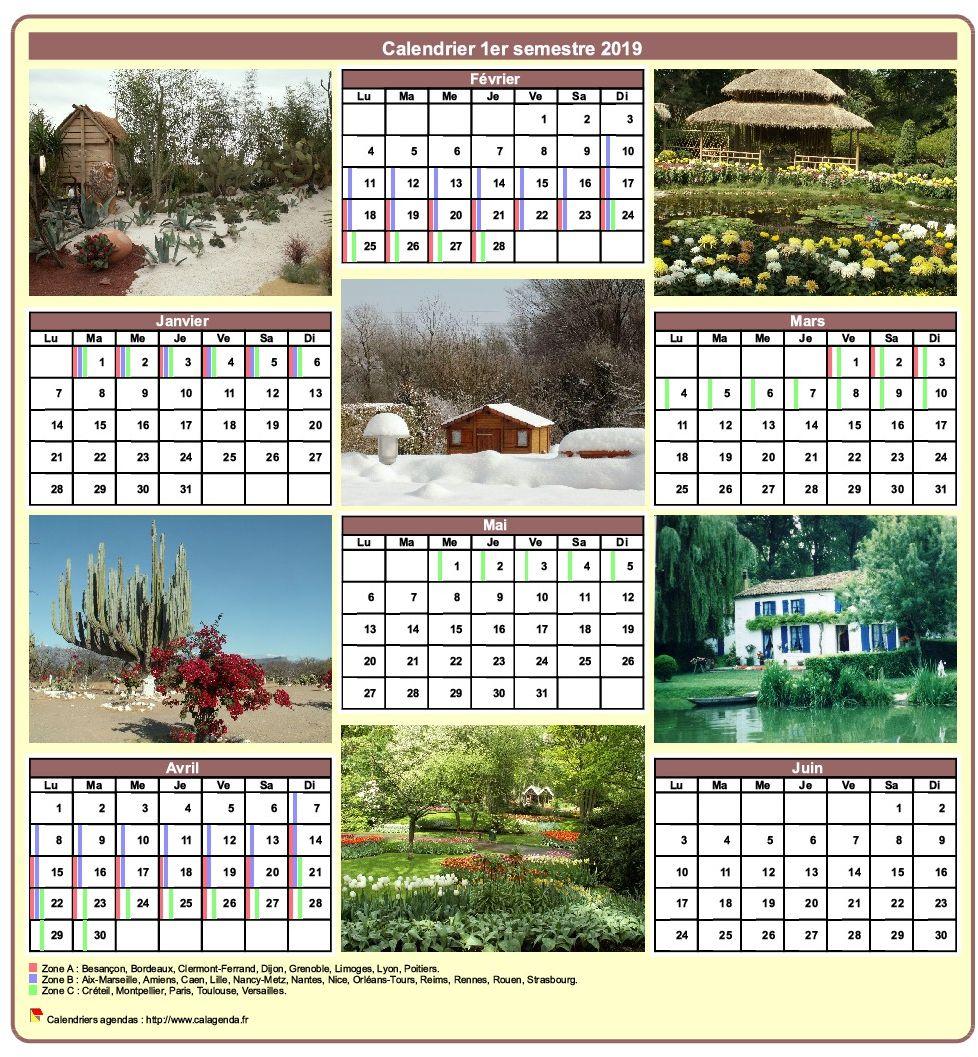 Calendrier 2019 semestriel avec une photo différente chaque mois