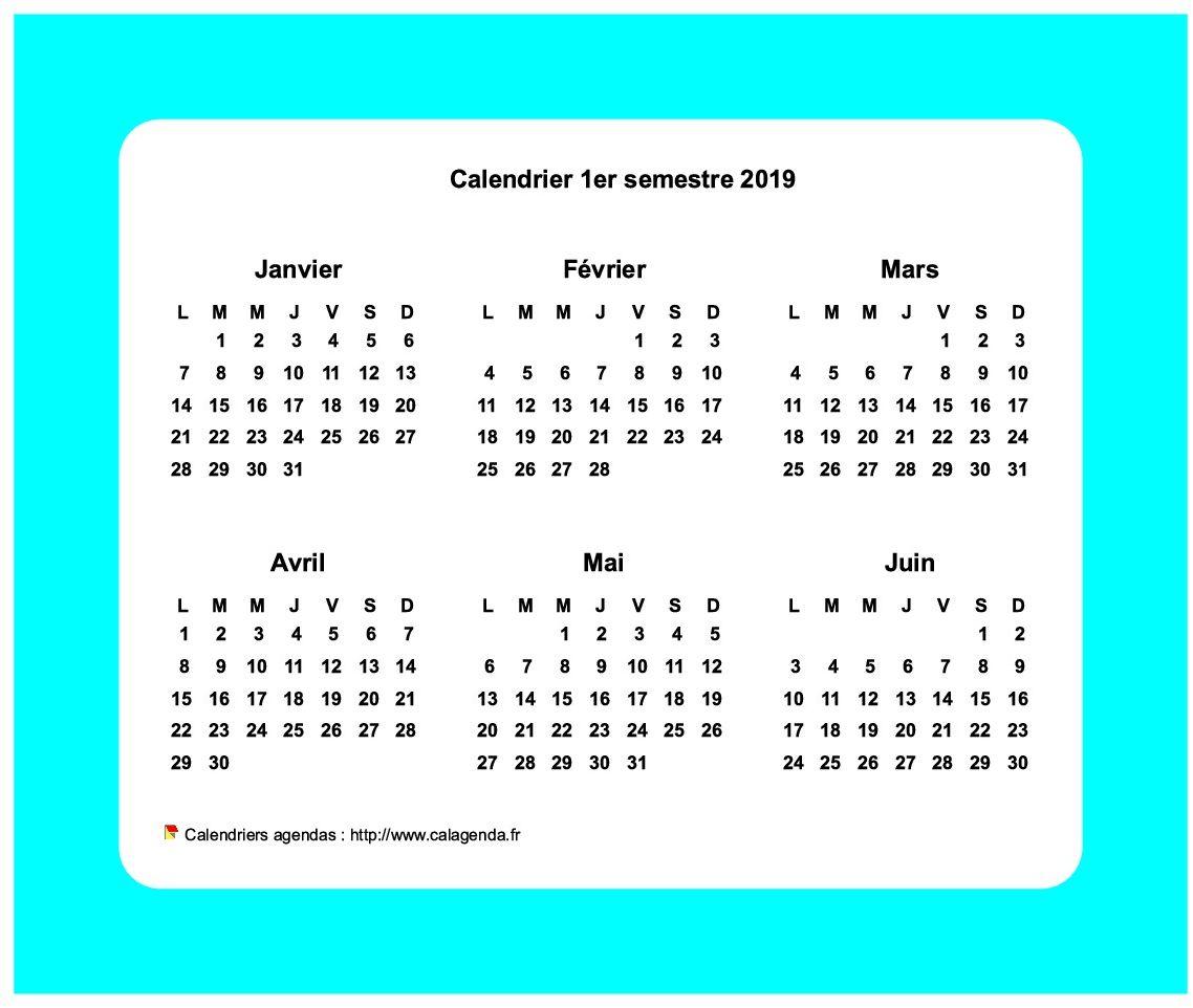 Calendrier 2019 semestriel avec bordure