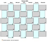 Calendrier mensuel style tresses