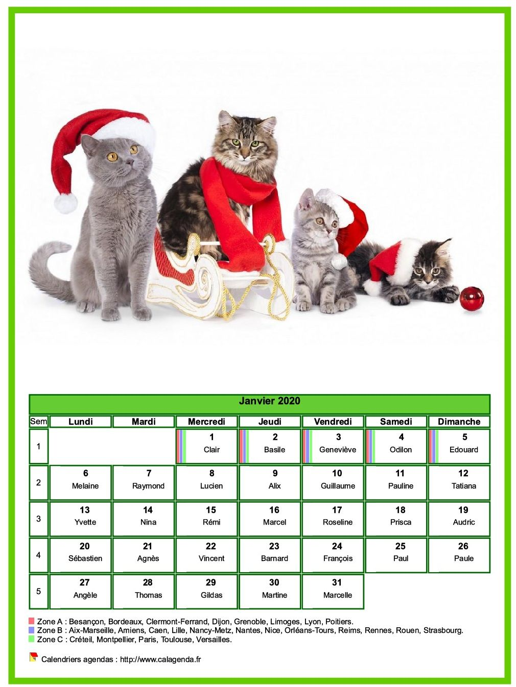 Calendrier janvier 2020 chats