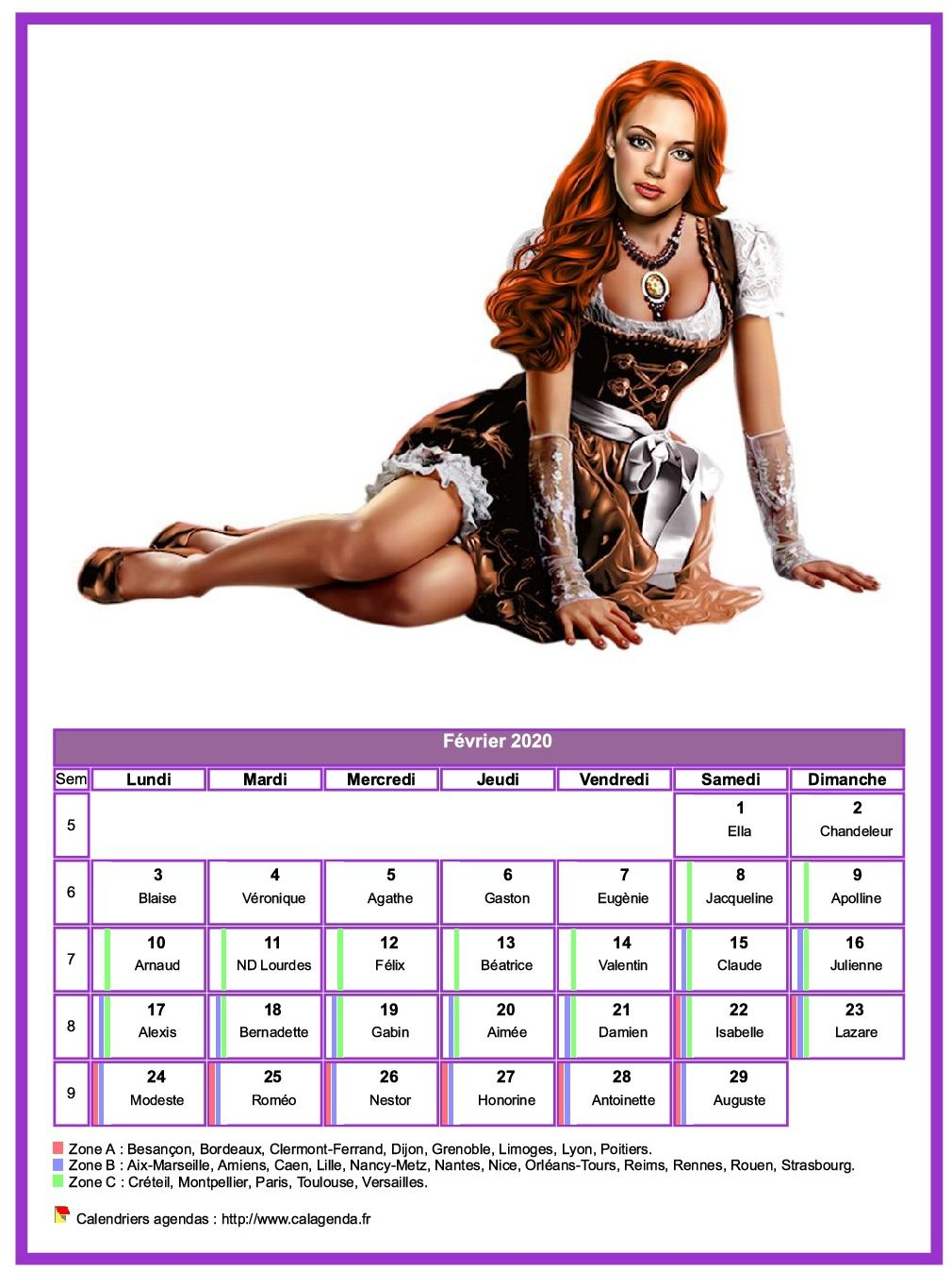 Calendrier février 2020 femmes