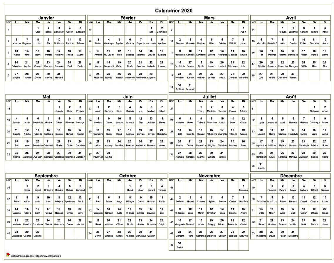Calendrier 2020 à imprimer, annuel avec les fêtes, format paysage, sous-main ou mural