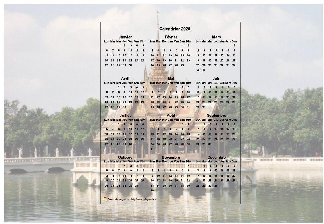 Calendrier 2020 annuel à imprimer, format paysage, une ligne par trimestre, incrusté au centre d'une photo