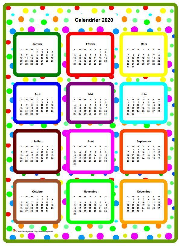 Calendrier 2020 annuel en couleurs