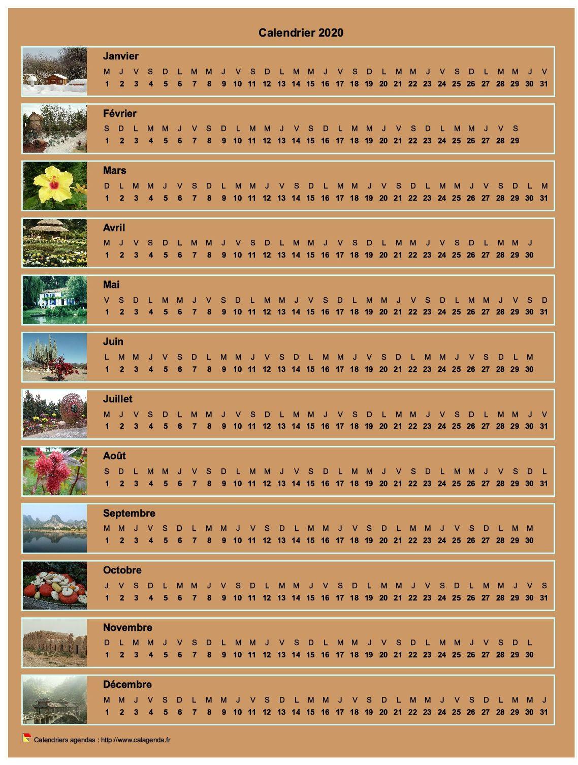 Calendrier 2020 annuel horizontal avec 12 photos