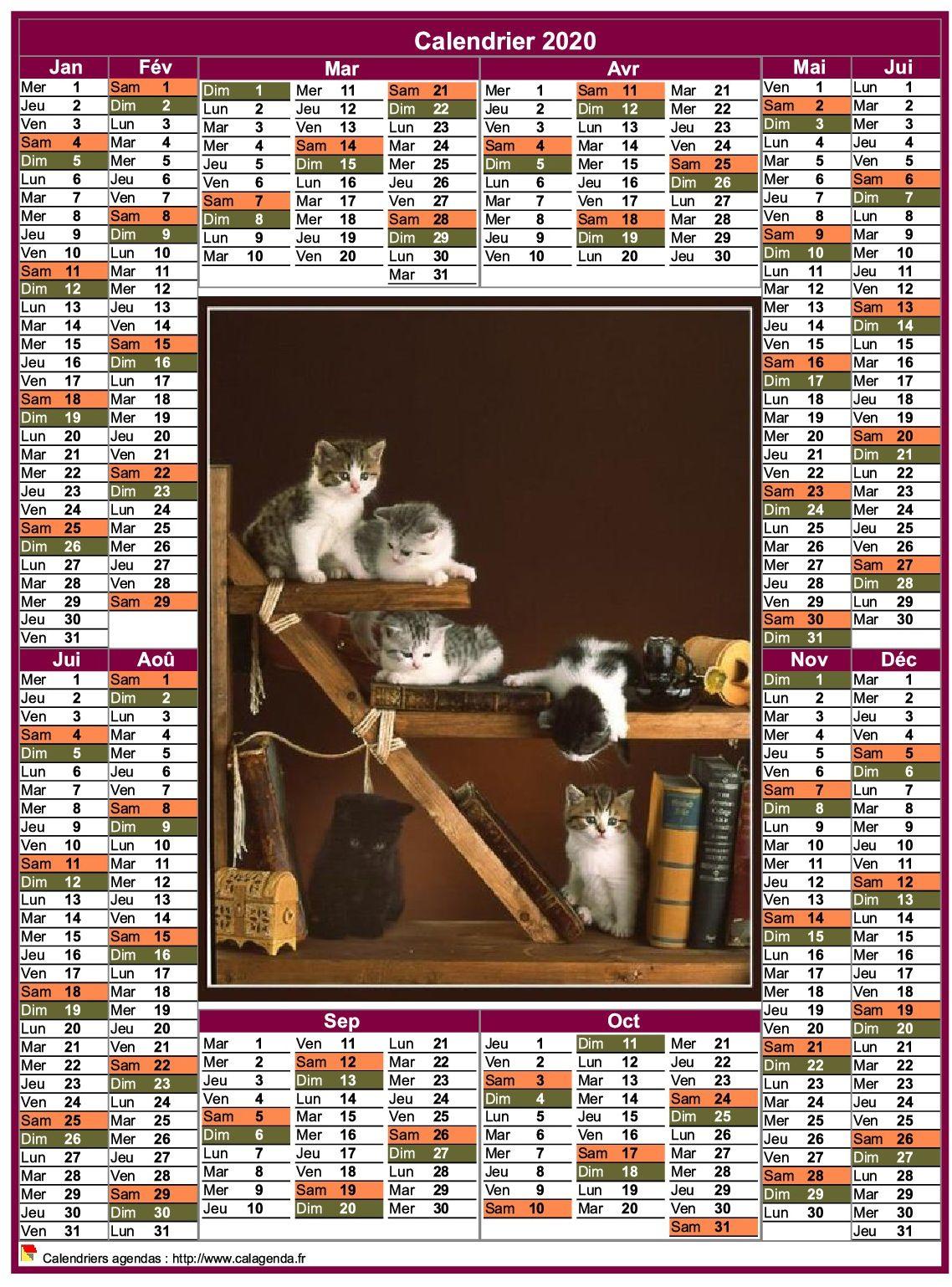 Calendrier 2020 annuel portrait style postes