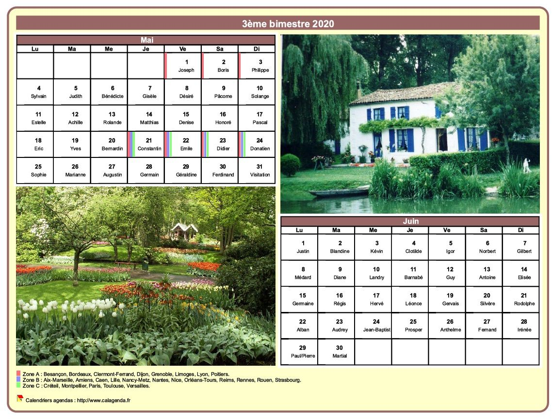 Calendrier 2020 bimestriel avec une photo différente chaque mois