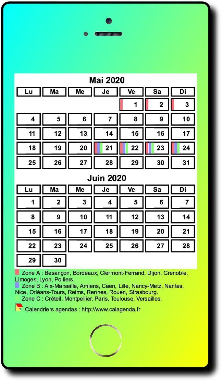 Calendrier 2020 bimestriel style iPhone