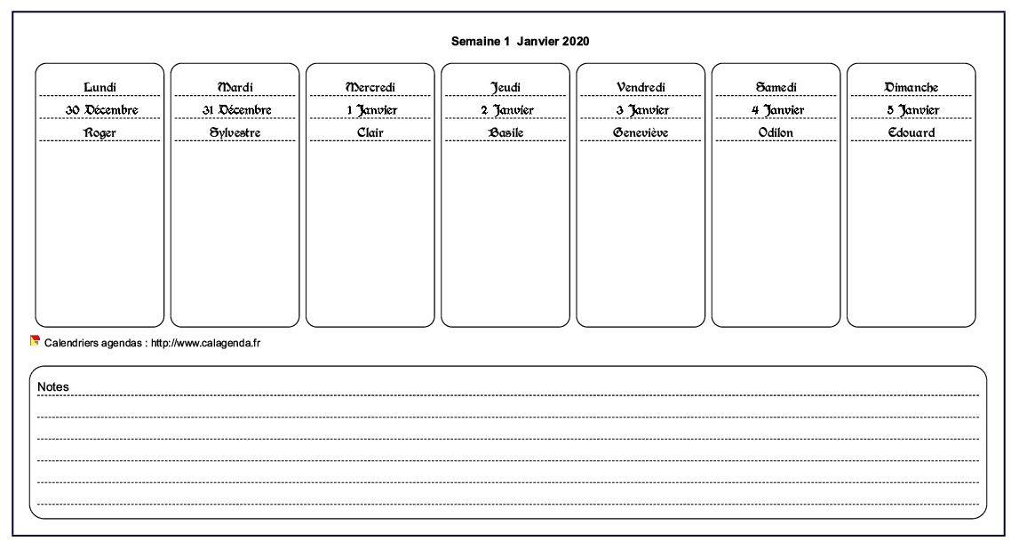 Calendrier hebdomadaire à imprimer de format paysage avec notes en bas de page