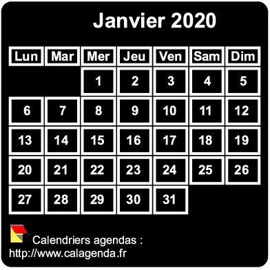 Calendrier mensuel 2020 à imprimer, fond noir, taille mini, format poche, spécial portefeuille