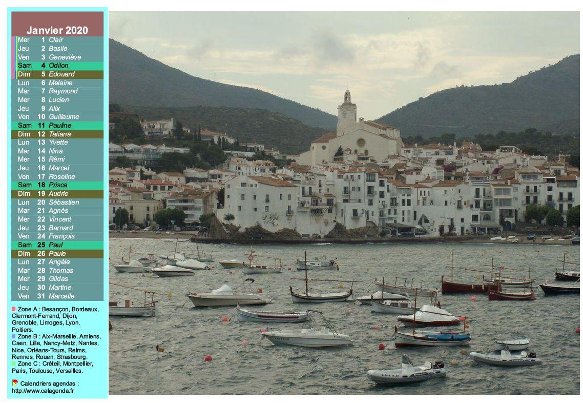 Calendrier mensuel 2020 à imprimer, une colonne avec photographie à droite