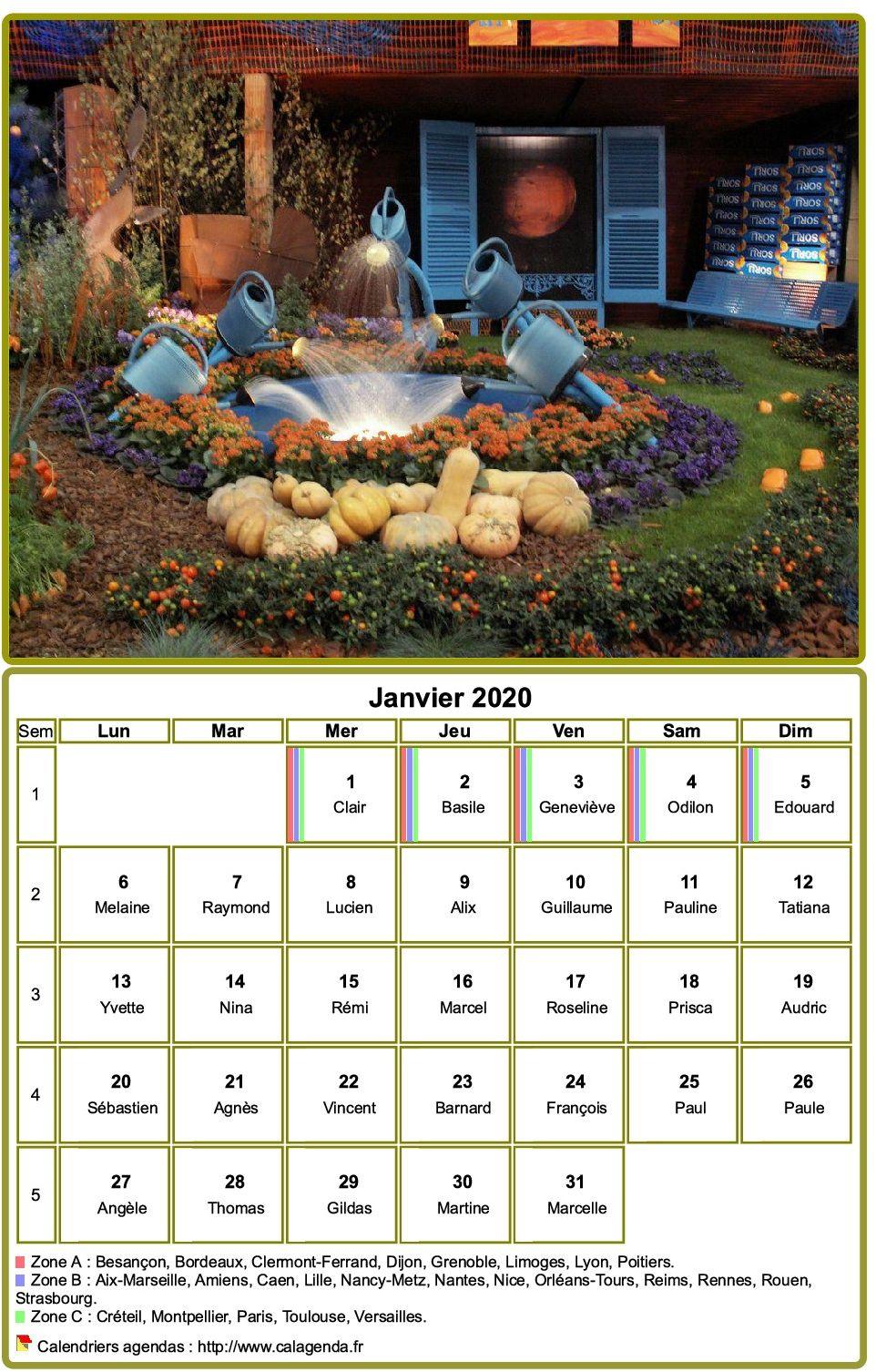 Calendrier 2020 à imprimer, mensuel, avec photographie au dessus
