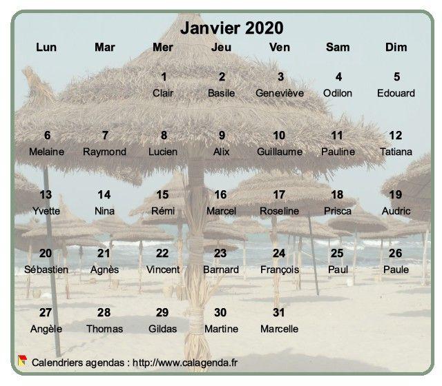 Calendrier mensuel 2020 à imprimer, en transparence sur une photo