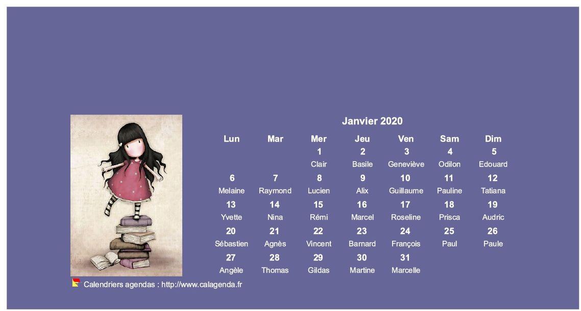 Calendrier mensuel 2020 Gorjuss