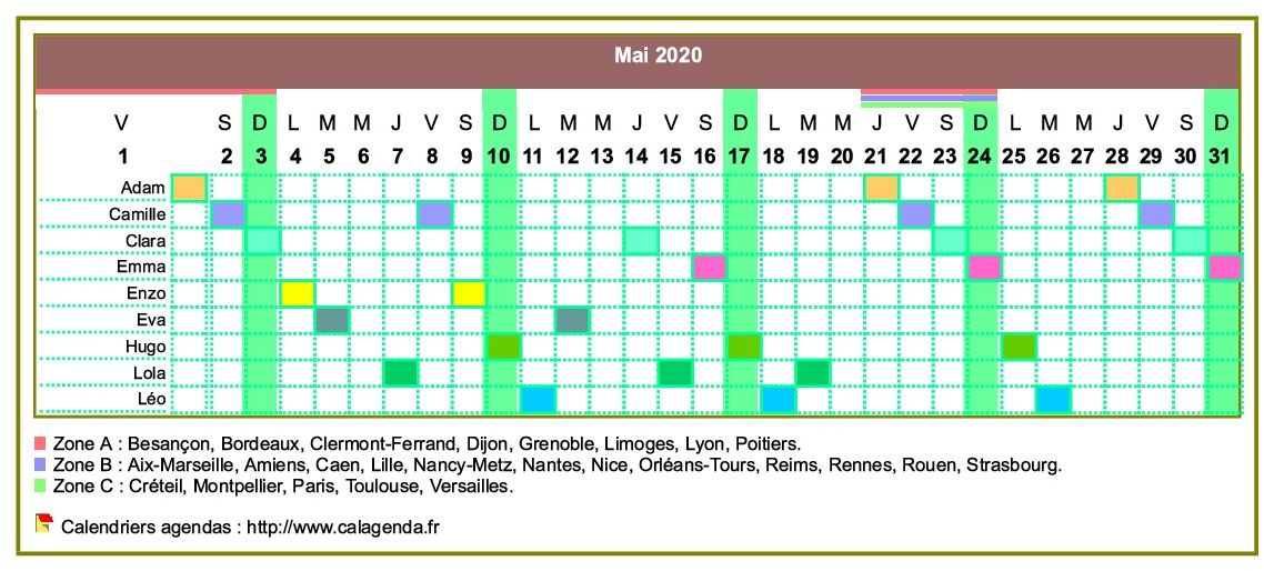 Calendrier 2020 planning horizontal mensuel