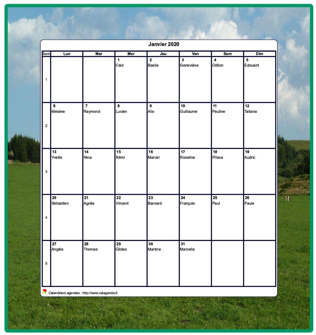 Calendrier 2020 décoratif à imprimer, mensuel , format portrait, avec une photo
