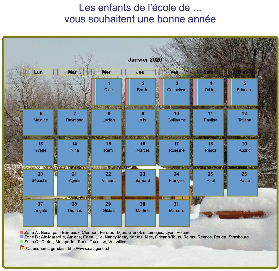 Calendrier 2020 agenda mensuel artistique avec photo et légende, paysage hivernal
