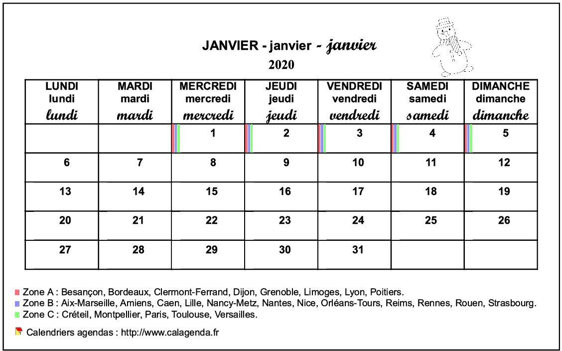 Calendrier mensuel 2020 école primaire et maternelle