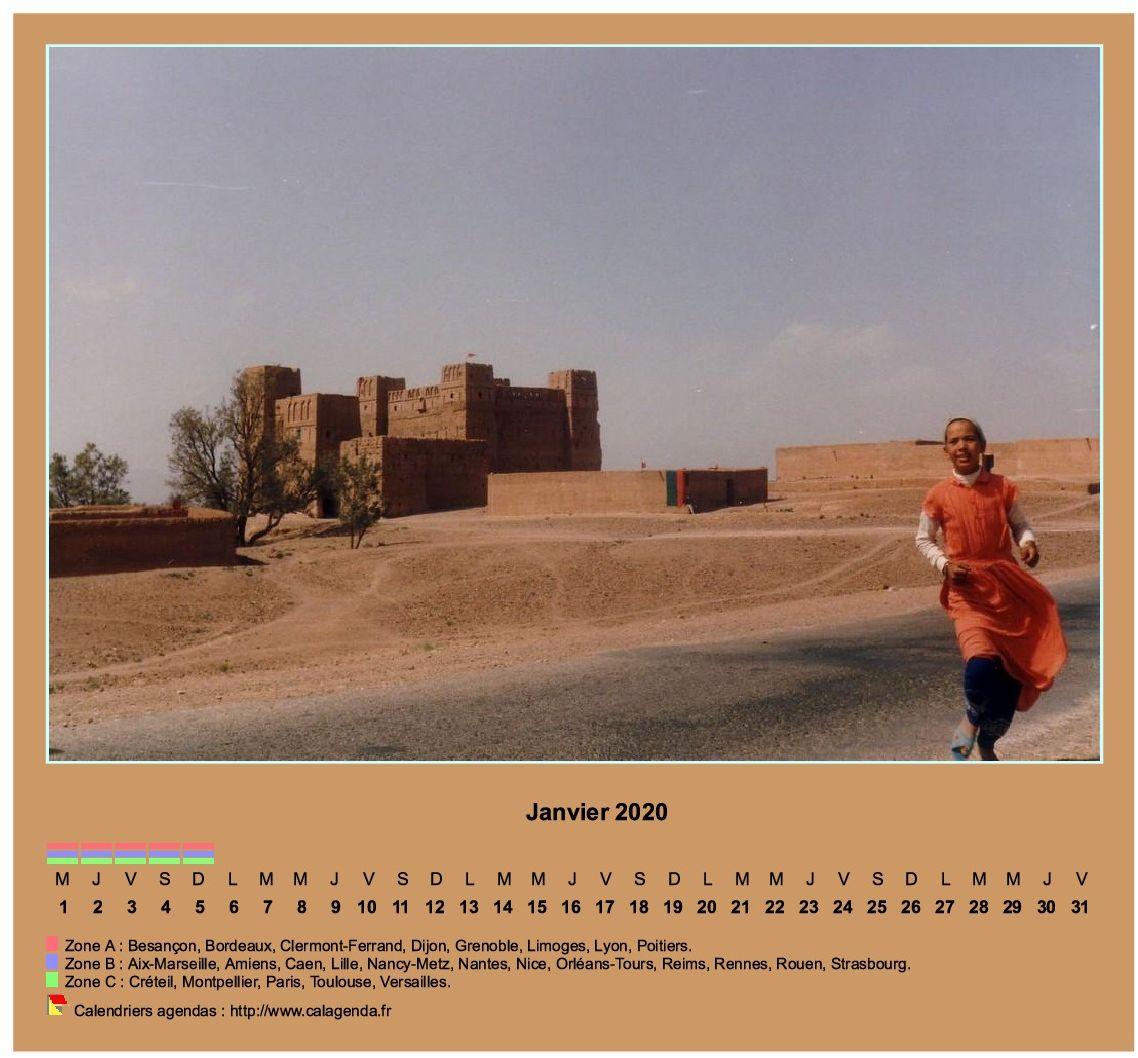 Calendrier mensuel 2020 horizontal avec photo