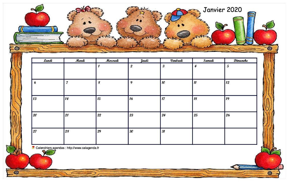 Calendrier mensuel 2020 école maternelle