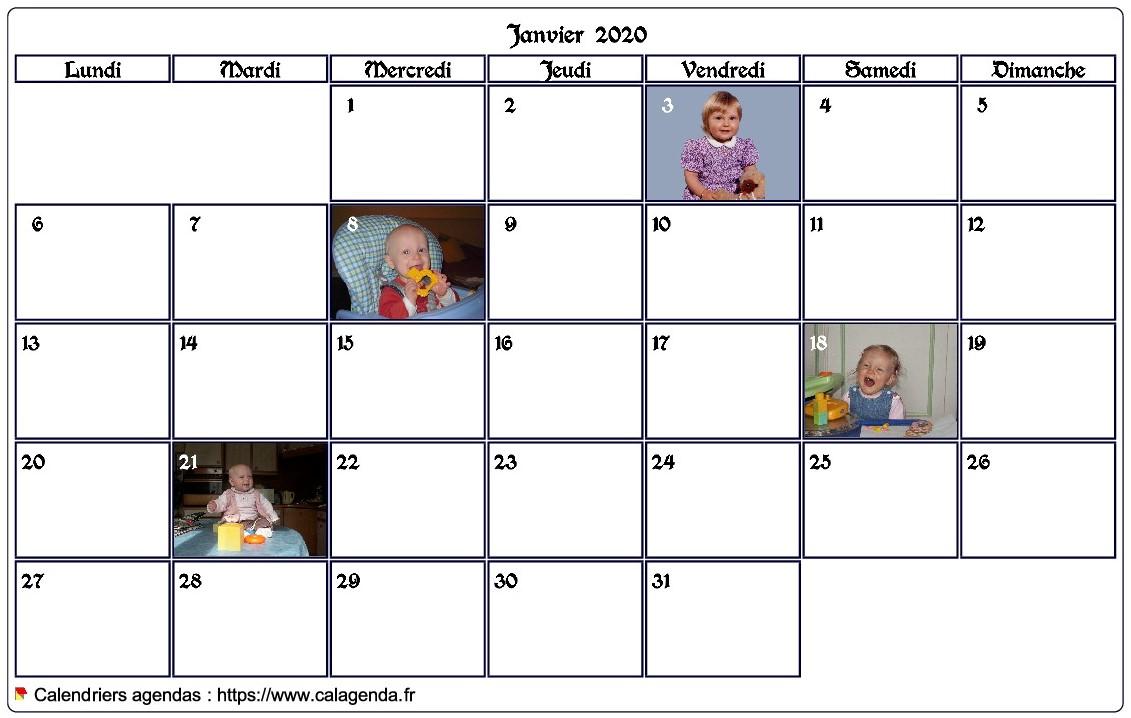 Calendrier mensuel 2020 avec photos d'anniversaires dans les cases