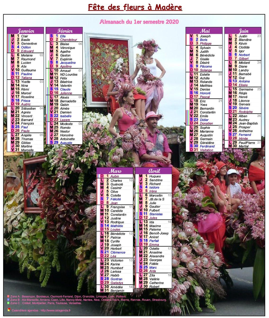 Calendrier 2020 semestriel fête des fleurs à Madère