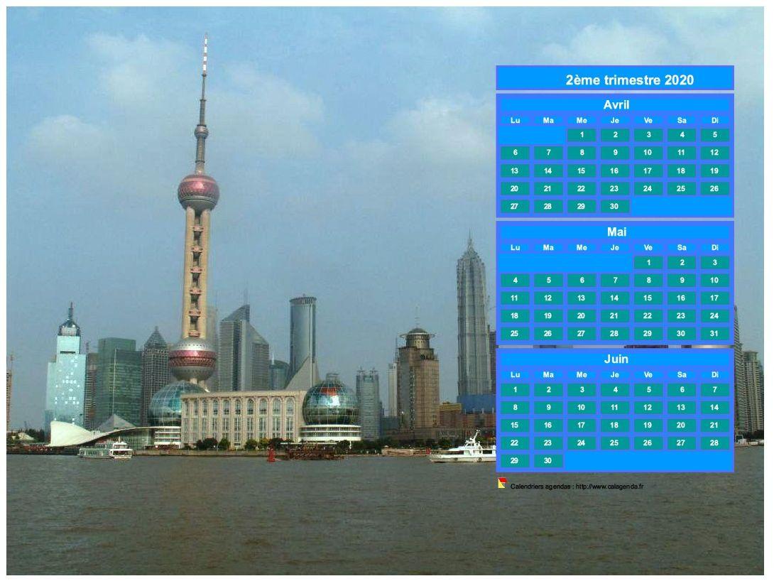 Calendrier 2020 à imprimer trimestriel, format paysage, au dessus de la partie droite d'une photo (Shangaï).