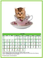 Calendrier d'avril chats