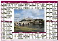 Calendrier 2020 annuel paysage style postes