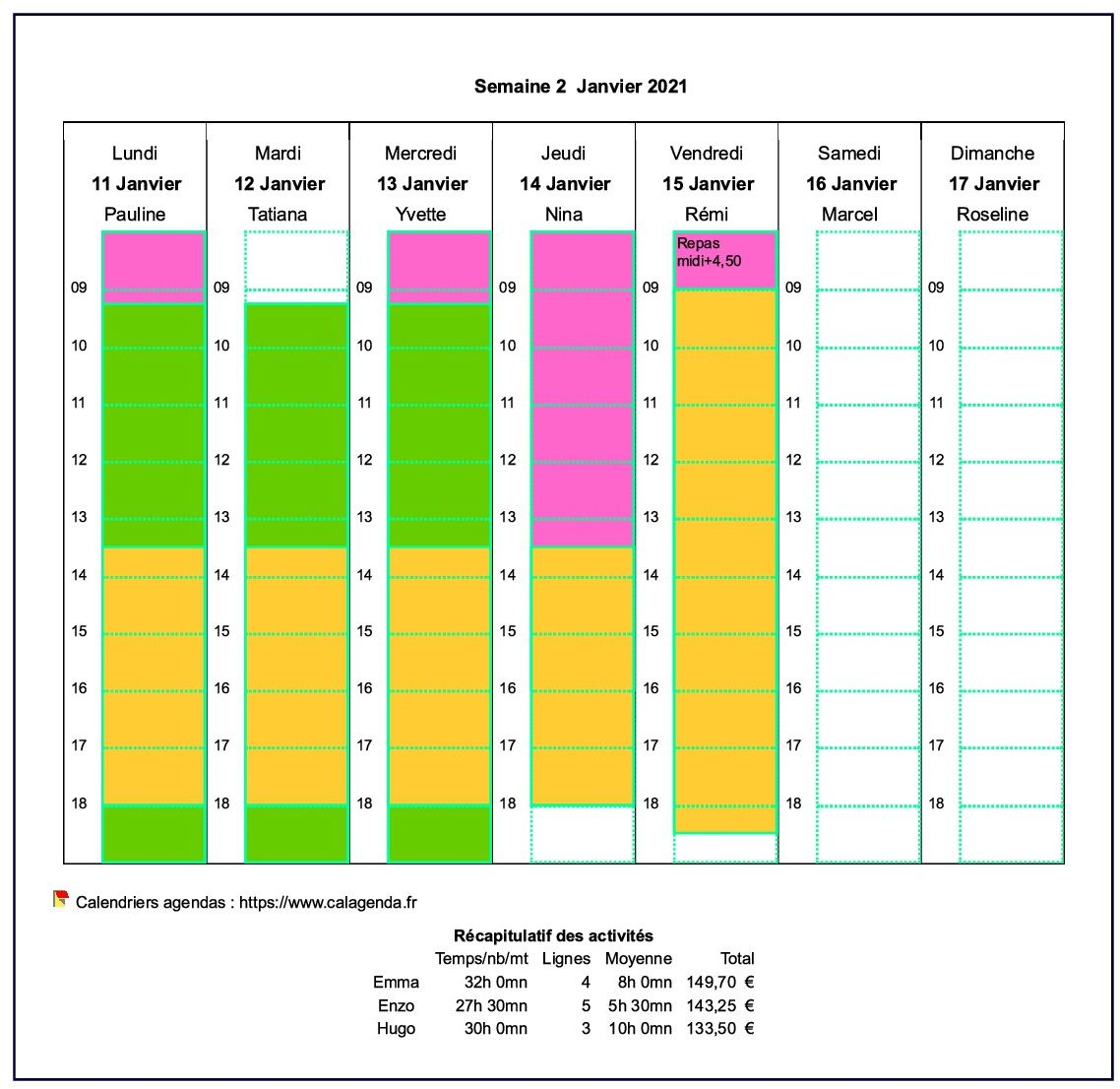 Calendrier planning horizontal hebdomadaire