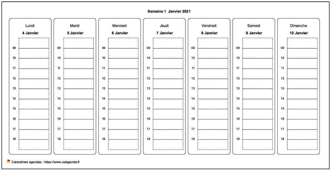 Planificateur hebdomadaire de format paysage avec grille horaire personnalisable