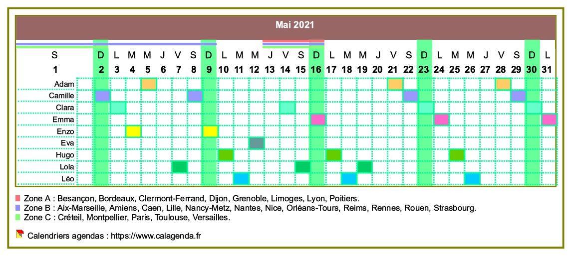 Calendrier 2021 planning horizontal mensuel