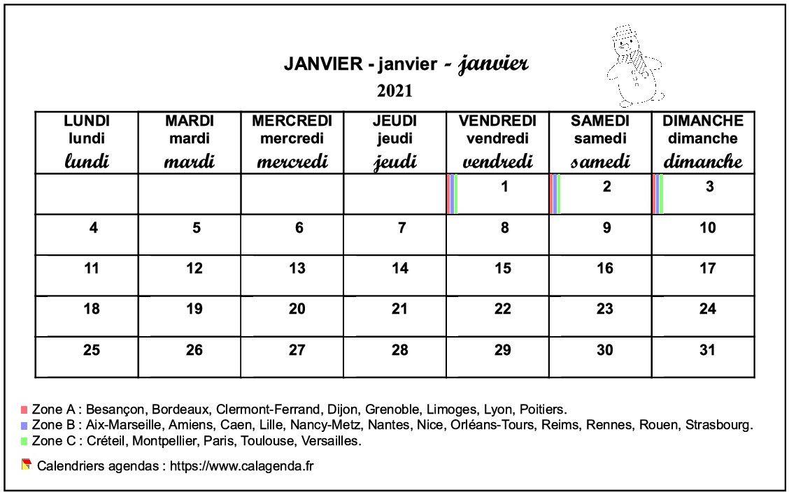 Calendrier mensuel 2021 école primaire et maternelle