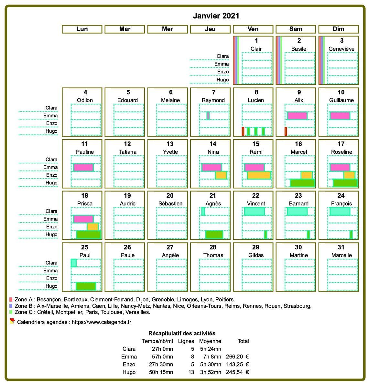 Calendrier planning mensuel détaillé