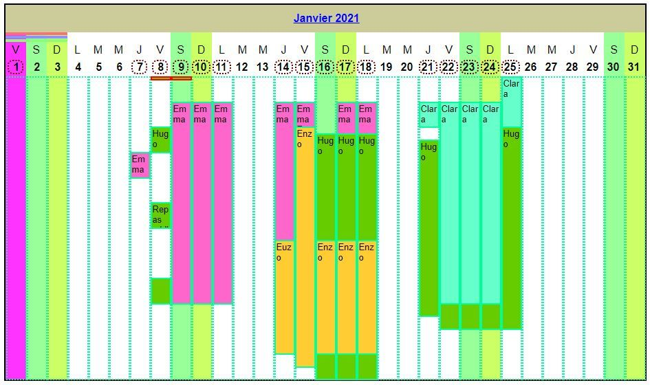 Calendrier planning horizontal