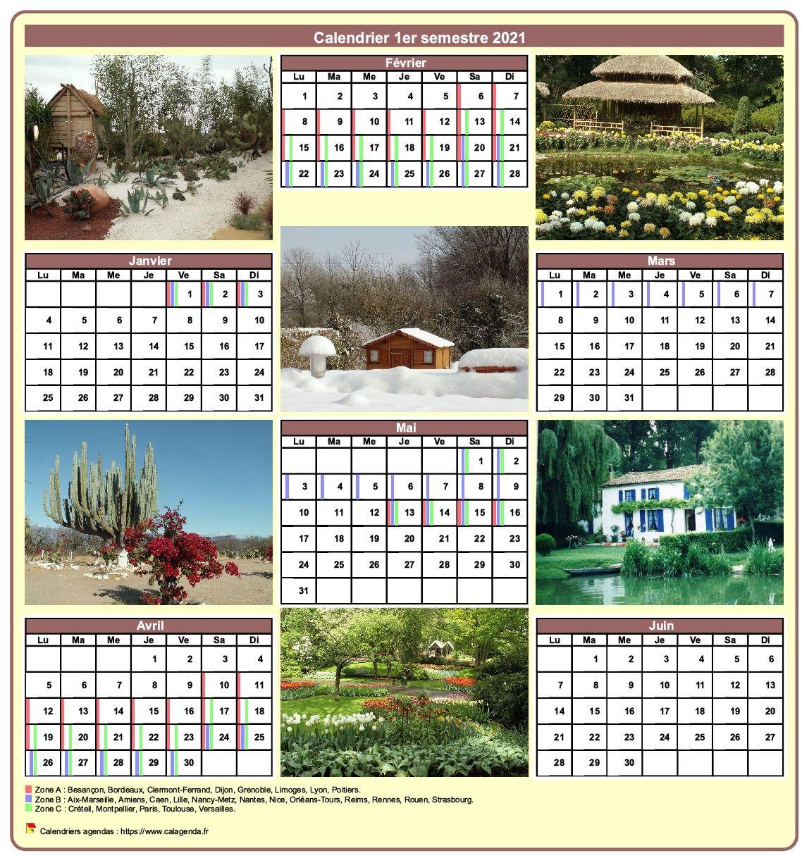 Calendrier 2021 semestriel avec une photo différente chaque mois