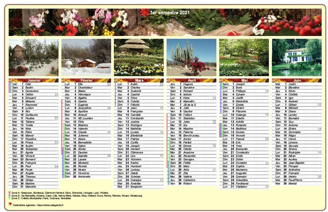 Calendrier 2021 semestriel en colonnes avec une photo différente chaque mois