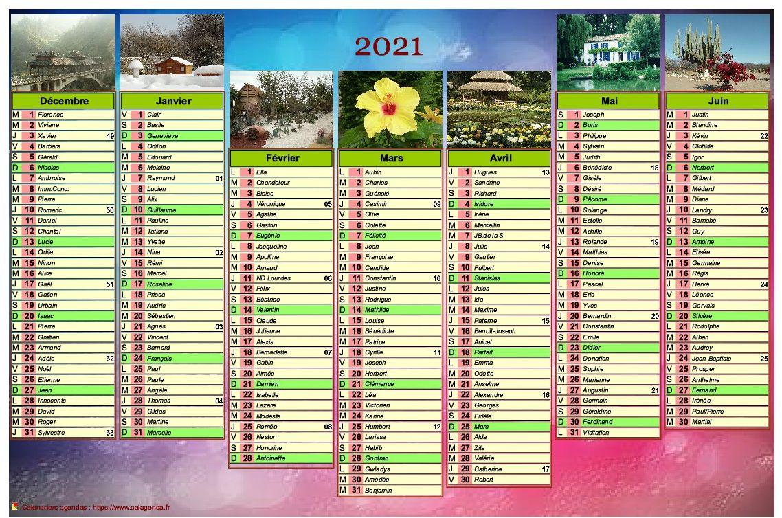 Calendrier 2021 de sept mois avec photos