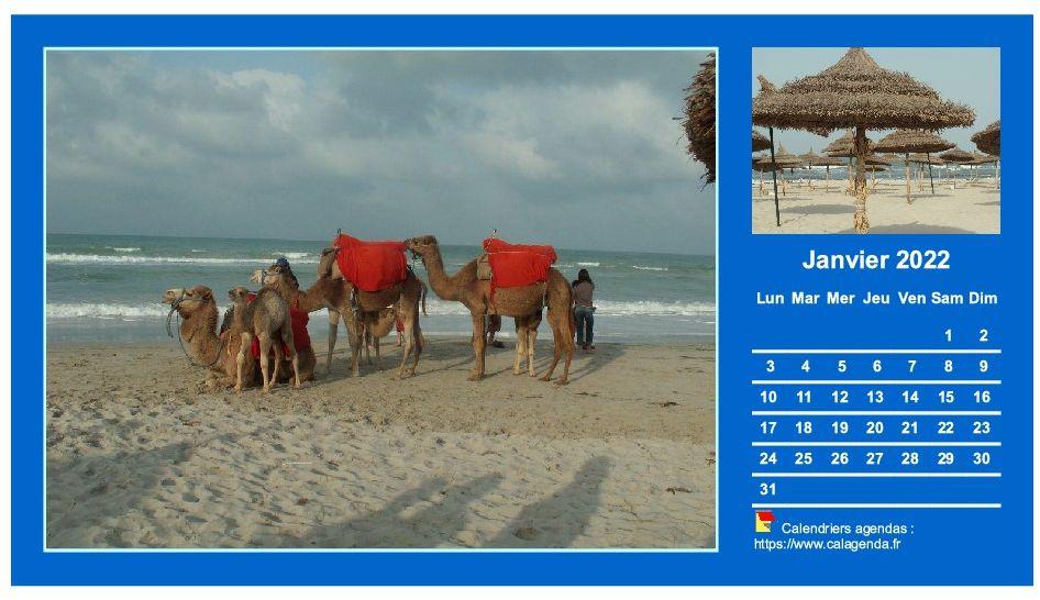 Calendrier mensuel 2022 avec deux photos