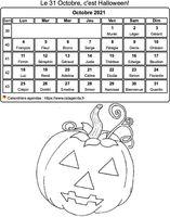 Calendrier à colorier du mois d'octobre