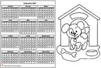 Calendrier annuel à colorier