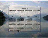 Calendrier annuel à imprimer, format paysage, 4 colonnes 3 lignes, incrusté au milieu de la photo