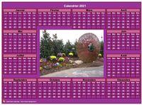 Calendrier à imprimer, photo annuel rose, format paysage, sous-main ou mural