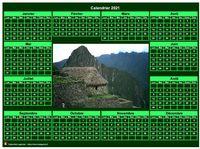 Calendrier à imprimer, photo annuel vert, format paysage, sous-main ou mural