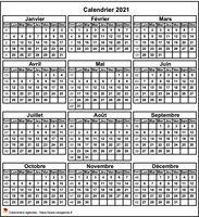Calendrier à imprimer annuel, format mini de poche, 3 colonnes, une ligne par trimestre.