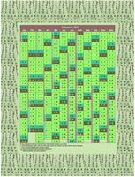 Calendrier annuel, 12 colonnes, motif vert, avec les vacances scolaires