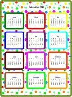 Calendrier annuel en couleurs