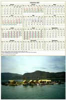 Calendrier annuel avec photo, une ligne par trimestre, format portrait